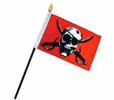 "Wholesale Lot 12 Crimson Pirate 4""x6"" Flag Desk Table Plastic Stick Staff"