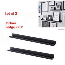 "IKEA 2 Picture Ledges 45"" MOSSLANDA Black Wall Shelves for RIBBA Frames NEW"