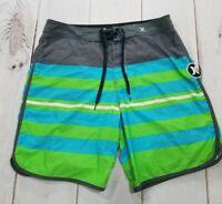Hurley PHANTOM Mens Board Shorts Swim Surf Trunks Blue Striped Check Size 30