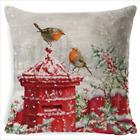 """18"""" Christmas Cushion Cover Pillow Case Cotton Linen Home Sofa Throw Decor Xmas"""