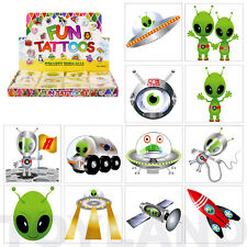 24 x SPACE ALIEN TEMPORARY TATTOOS BOYS FUN CHRISTMAS STOCKING PARTY BAG FILLERS