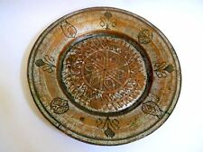 Antique Hand Carved Copper Tray Plate SYRIA DAMASCUS Arabic Islamic Middle East