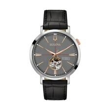 Bulova Classic Grey Dial SS Black Leather Automatic Men's Watch 98A187