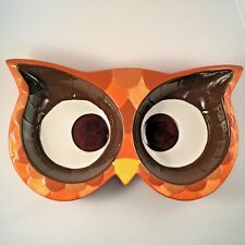 Owl Eyes Ceramic Dip Serving Dish Two Bowl Areas Mesa Home Products