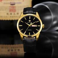 WWoor 4Colors Mens Watch PU Leather Strap Waterproof Quartz Calendar Wrist Watch