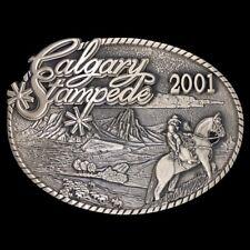 Vtg NOS Calgary Stampede Rodeo Western Cowboy Commemorative Brass Belt Buckle