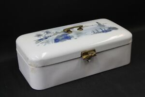 Old Enamel Bread Box Bing Enameled With Spraying Decor Vintage