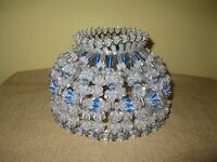 Vintage Handmade Beaded Clear Blue Safety Pin Lamp Shade Retro large silver tone