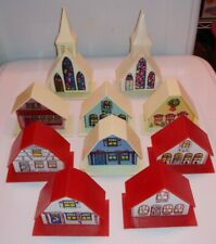 10 Vintage Christmas Village /w Light Inserts Holiday Decorative Ornaments