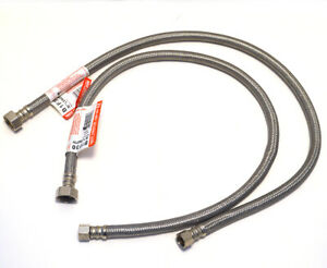 """2 Fluidmaster Faucet Connector 30"""" hose B1F30 1/2"""" x 3/8"""" Stainless Steel New"""