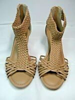 Torrid Womens Wedge Sandals Size 12 W Beige Color Ankle Strap Zip  #B
