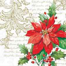 Christmas 20 Paper Lunch Napkins STYLISH POINSETTIA White Red Green Winter