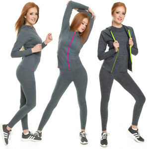 Ladies Gym Outfit Elastic T-shirt Leggings Hoodie Fitness Workout Set FG904
