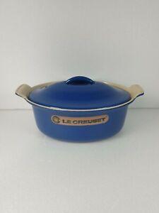 VINTAGE LE CREUSET CAST IRON BAKING CASSEROLE DISH BLUE SIZE 22