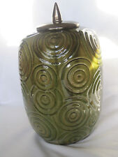 Large Green Ceramic Urn with Lid, Decorated with a Circles Design