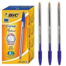 ORIGINAL BIC Blue Cristal Medium Biros Ballpoint Pens Ball Pen 10 Pack - 1.0 mm