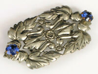 ANTIQUE ART NOUVEAU SILVER PLATED BRASS BELT BUCKLE BLUE RHINESTONES ORNATE !