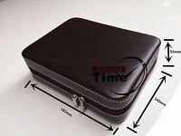 PU Leather Dual 4  Watch Storage Case Collector Zipper Travel Box Convinient