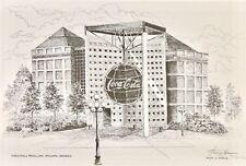 "World of Coca Cola Pavilion Atlanta Georgia Signed Art 11""x16"" Huey Theus Framed"