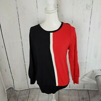 New Alfani Colorblock Pullover Crewneck Sweater Women's Medium Red Black NWT