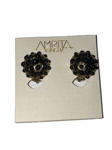New Amrita Singh Statement Clip Earrings round gold & Black