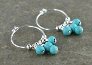 Boho Turquoise Gemstone & 15mm Sterling Silver Hoop Earrings Gift Box - Real