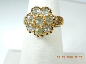 Antique heirloom 8 diamond 1 carat ring rose gold setting size 5.75 flower clust