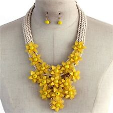 Yellow Flowers Floral Chunky Bib Necklace Earring Set