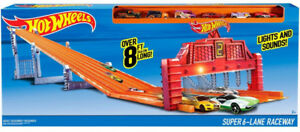 Hot Wheels Super 6-Lane Raceway Realistic Sounds and Lights Toy Gift