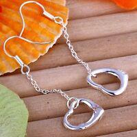 ASAMO Damen Ohrhänger Herz Ohrringe 925 Sterling Silber plattiert O1086