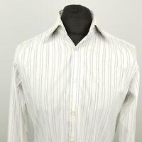 HUGO BOSS Mens Shirt 40 15 3/4 MEDIUM Long Sleeve White Regular Fit Striped