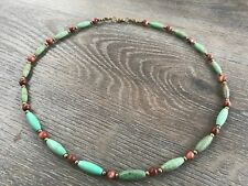 Mens Necklace of Green Magnesite and Goldstone Beads with Bronze Spacers