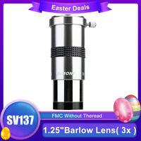 "SVBONY SV137 1.25"" Barlow Lens( 3x ) Metal Body FMC Internal Brass Ring Eyepiece"