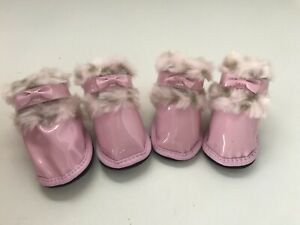 Pink dog boots Patent Leather large