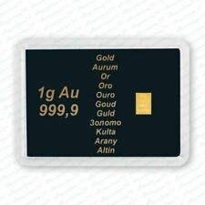 1g 1 g 1 Gramm Goldbarren in Motivbox -  AU 999,9  - mit Zertifikat