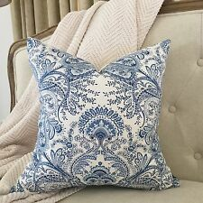 Melodie Paisley Blue Off White Vintage Designer Cushion Pillow Cover Linen