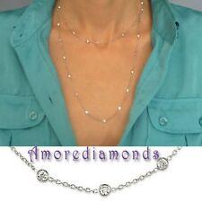 """4.20 ct G VS2 36 diamond by the yard eye glass bezel necklace 40"""" 14k white gold"""