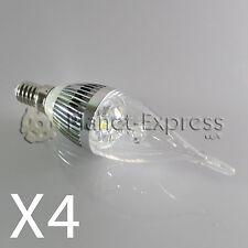4 x Bombilla 3W LED E14 Vela larga Blanco Frio Color Plata 220V equiv. 25W 30W
