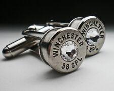 38 Special Winchester Nickel Bullet Cufflinks Choice of Birthstone Swarovski
