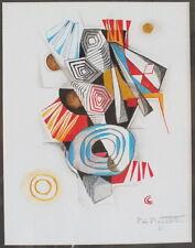 gouache Pierre de Berroeta composition abstraite peinture tableau (n°1)