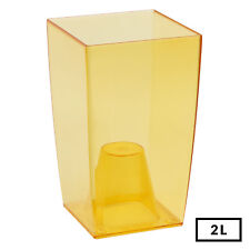 Medium ORANGE 20cm Tall Desk Orchid Home Transparent Flower Decor Square Pot