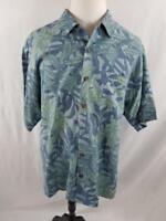 Tommy Bahama Mens L Blue Green Floral Button Hawaiian Camp Shirt SIlk