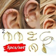 5Pcs/Set Gold Leaf Ear Cuff Clip Earrings Women Climbers No Piercing Jewellery