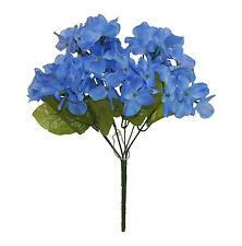 6 x Hydrangea Stems ~ BLUE ~ Silk Wedding Flowers Bridal Bouquets Centerpieces