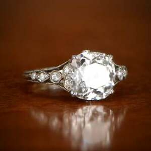 Antique Vintage Style Cushion & Round Cut 3.86CT Cubic Zirconia Engagement Ring