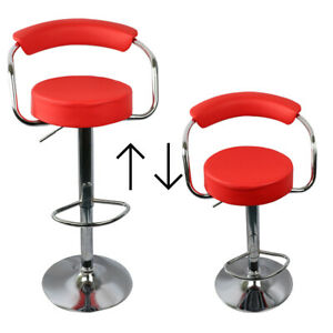 Set of 2 Bar Stools PU Leather Adjustable Hydraulic Barstools with Curved Back