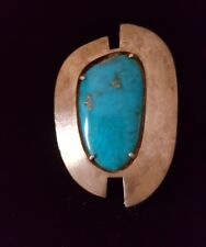 VINTAGE MODERN LARGE BLUE TURQUOISE AND STERLING SILVER PIN PENDANT
