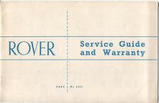 Rover original Service Guide and Warranty Booklet Part No. 4472 circa 1964