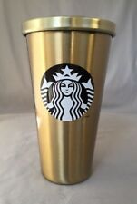 Starbucks Gold With Black Logo Stainless Steel Cold Cup 16 Oz 2014.