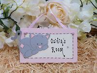 E62 Personalised Girls Little Kitty Cat Bedroom Door Birthday Christmas Gift